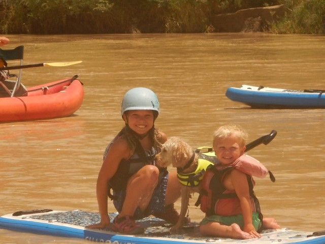 Maddy, Eddy and Coby enjoying the Shaboomee SUP!