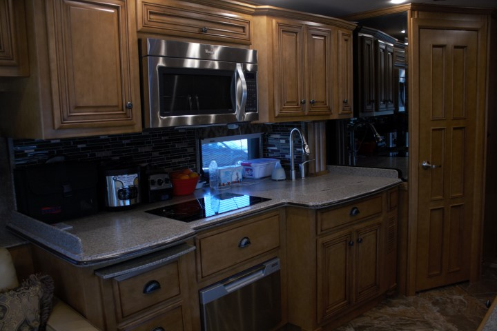 The (covered) kitchen sink in our Newmar Dutch Star 4312.  Covered!  Everyone needs a covered sink!