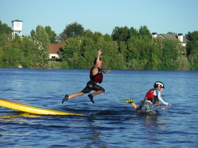 Flying off a SUP to get his brother ... yep, totally normal!