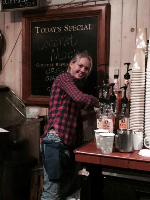 Kady working as a barista at Blue Bird Cafe!