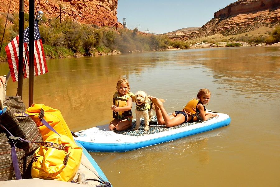 Floating of the Shaboomee SUP on our multiday family raft trip.